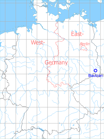 Map with location of Bautzen Air Base, Germany