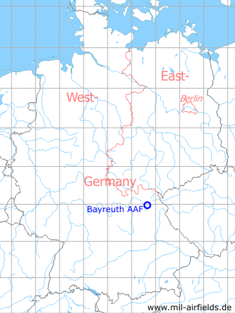 Map with location of Bayreuth Army Airfield, Germany