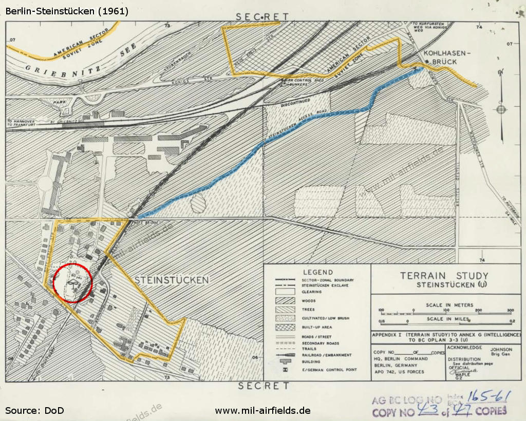 The helicopter landing area on a map from the Berlin Command Plan for STEINSTUCKEN 1961
