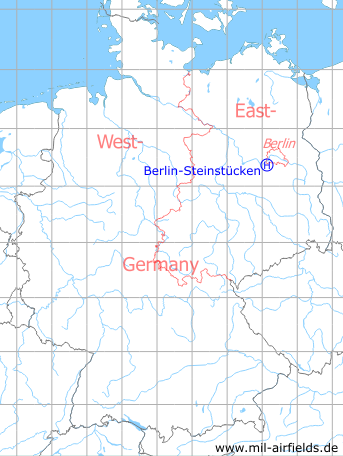 Map with location of Berlin Steinstuecken helicopter landing area