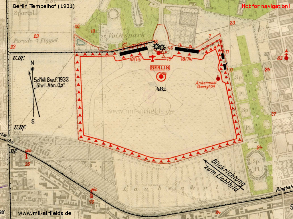Map of Berlin Tempelhof Airfield, Germany, from 1931