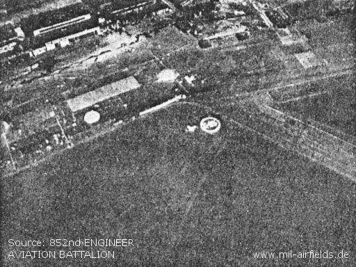 Aerial view of field marker. Also shows area of control tower - top of photo