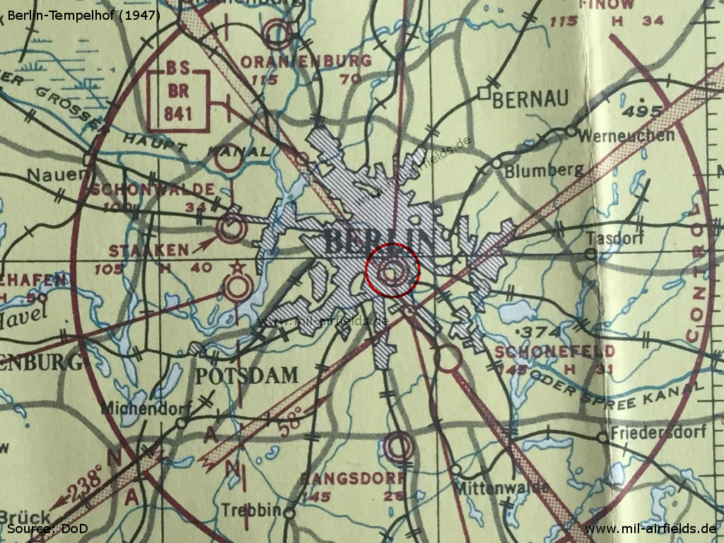 Tempelhof Airfield on a map from 1947