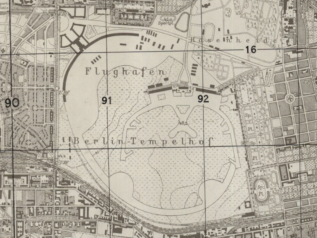 Former Tempelhof airfield on a US map