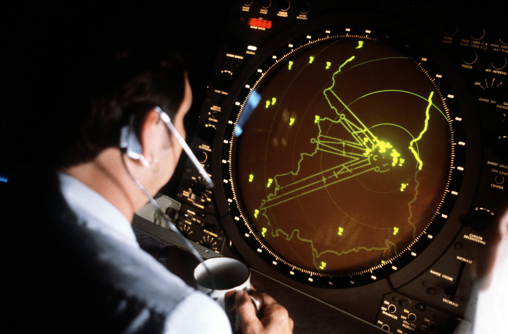 Air traffic approach controller at the Tempelhof Central Airport, Germany