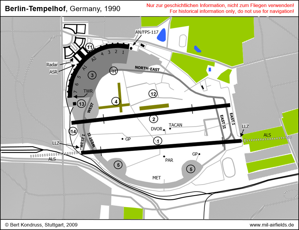 Map of Berlin Tempelhof Airport, Germany