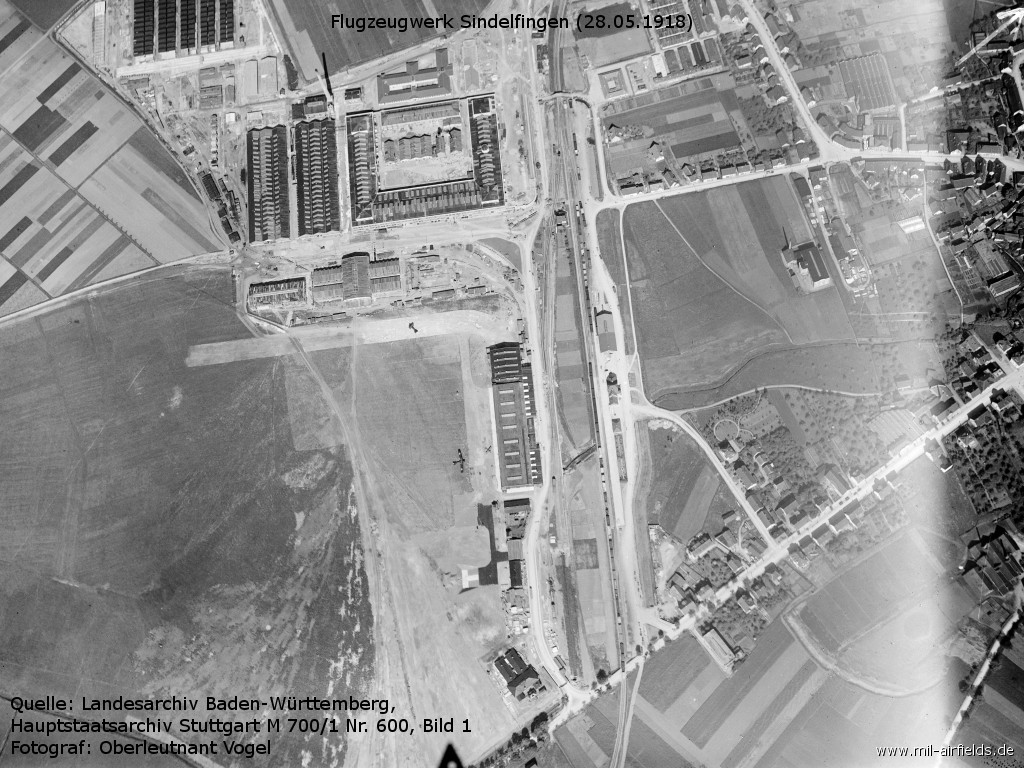 Aerial picture of Sindelfingen aircraft factory 1918