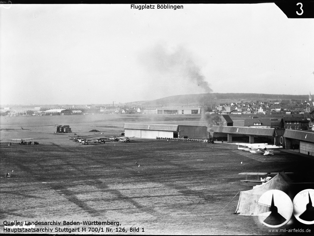 Böblingen airfield with hangars