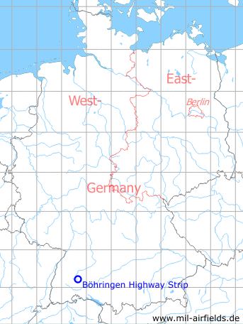 Map with location of Böhringen Highway Strip, Germany