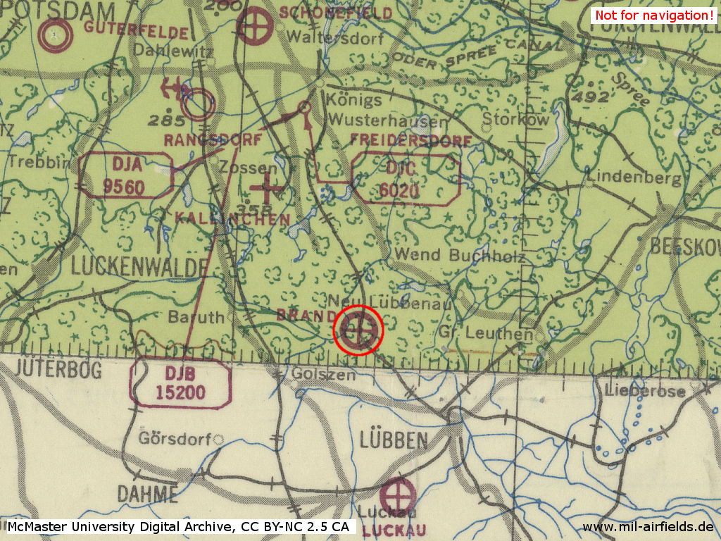 Brand airfield on a map 1943