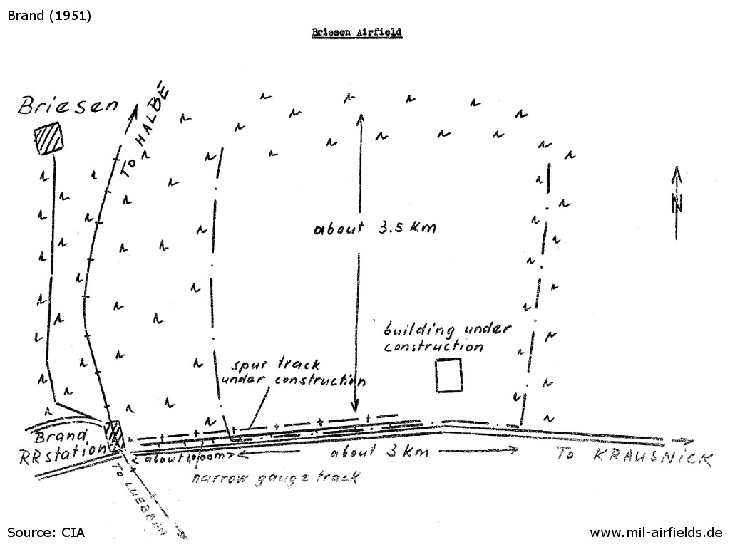 Sketch of Brand Briesen airfield at the beginning of the construction works