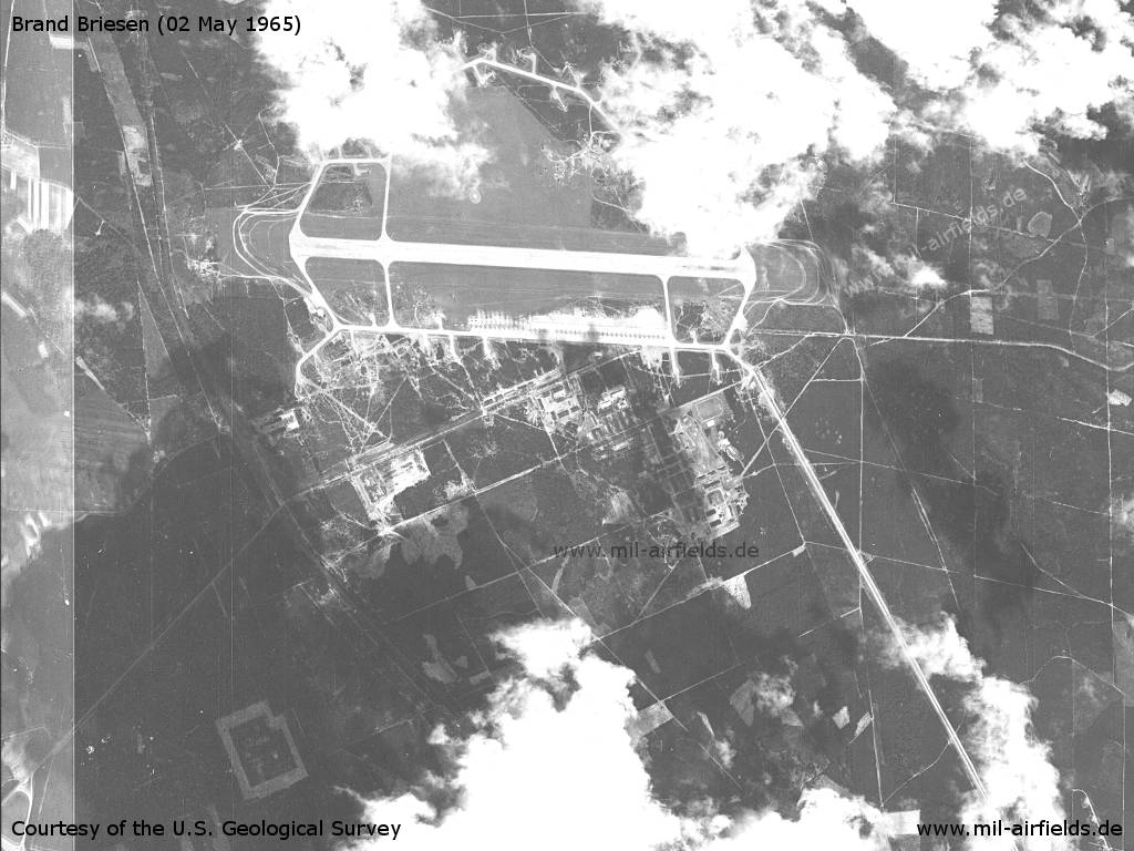 US satellite image of Soviet Brand Briesen Air Base, Germany, 1965