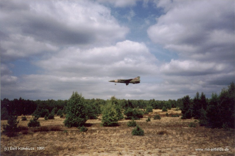 A Soviet MiG-23UB trainer approaching Brand Air Base