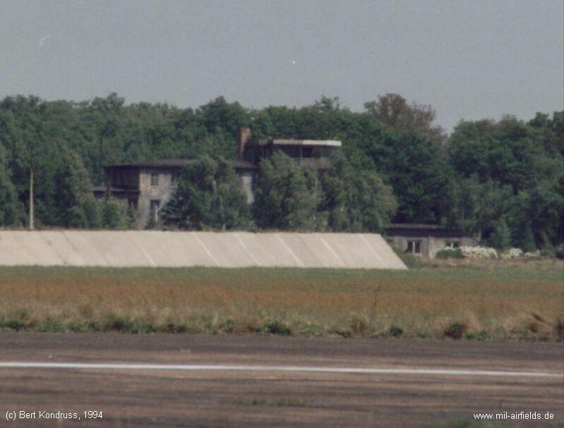 Tower, blast fence, Brandis airfield, Germany
