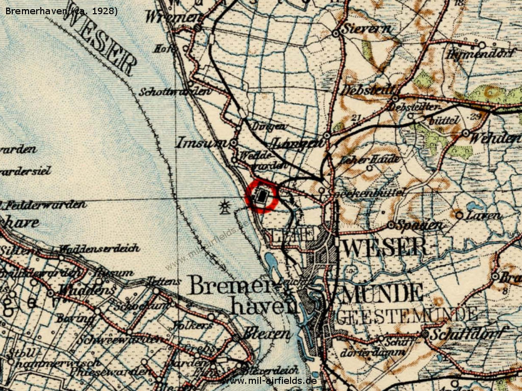 Bremerhaven airport on a map from the late 1920s.