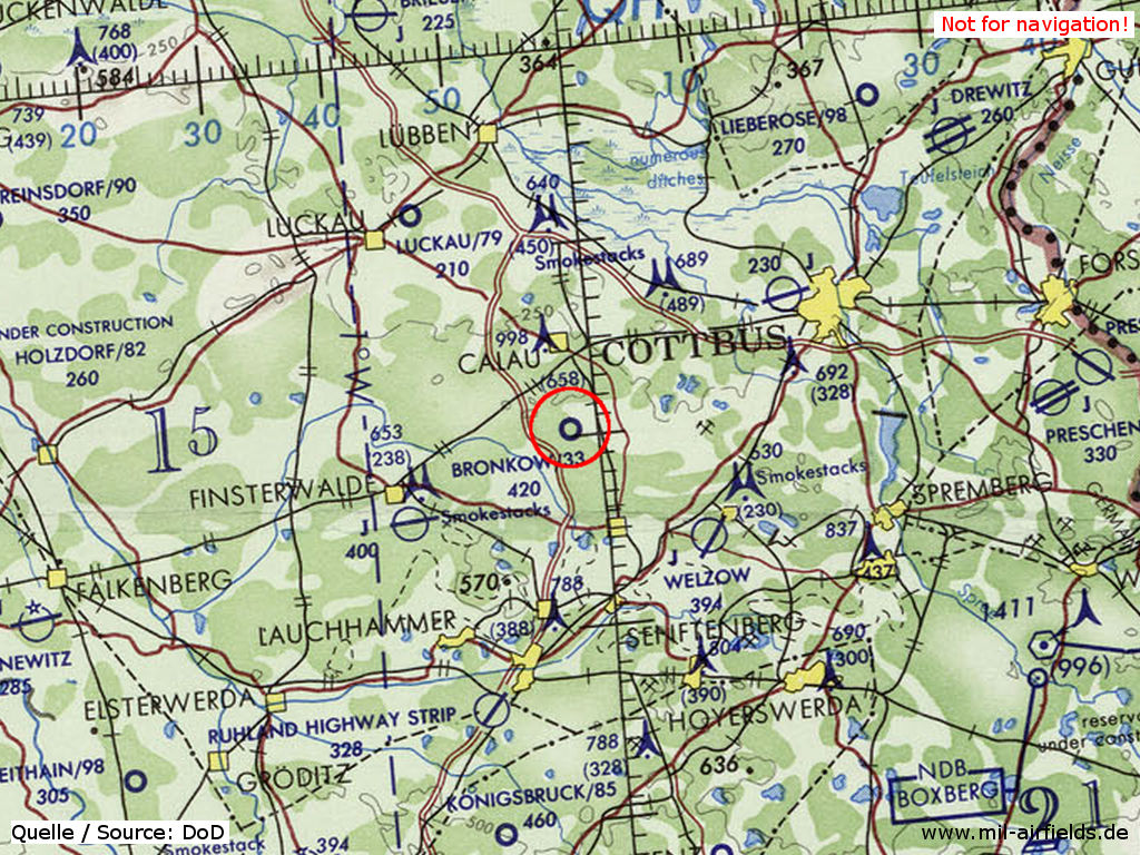 Bronkow Airfield on a map 1972
