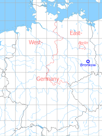 Map with location of Bronkow Airfield, Germany