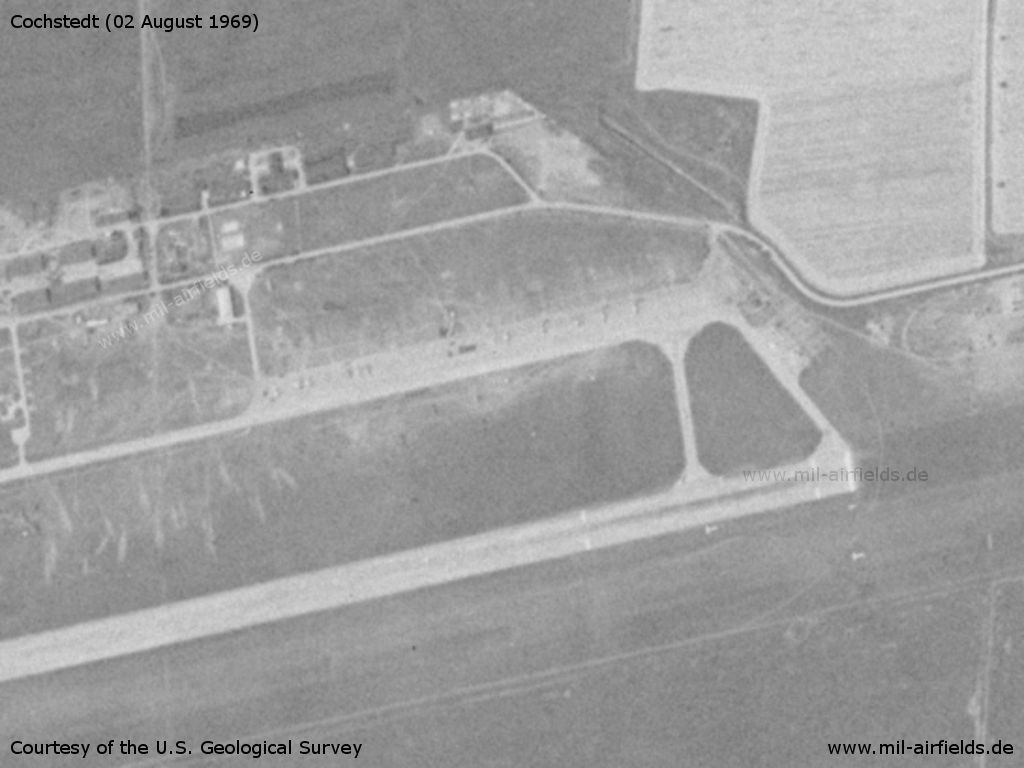 Eastern flight line and begin of runway at Cochstedt, Germany