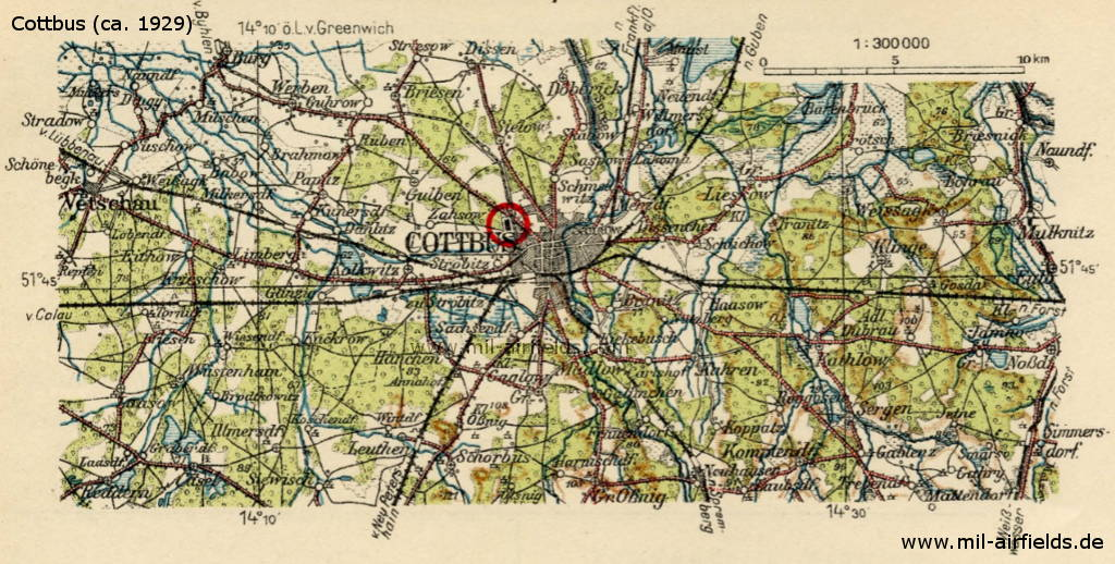 Map of Cottbus airfield, Germany, 1929