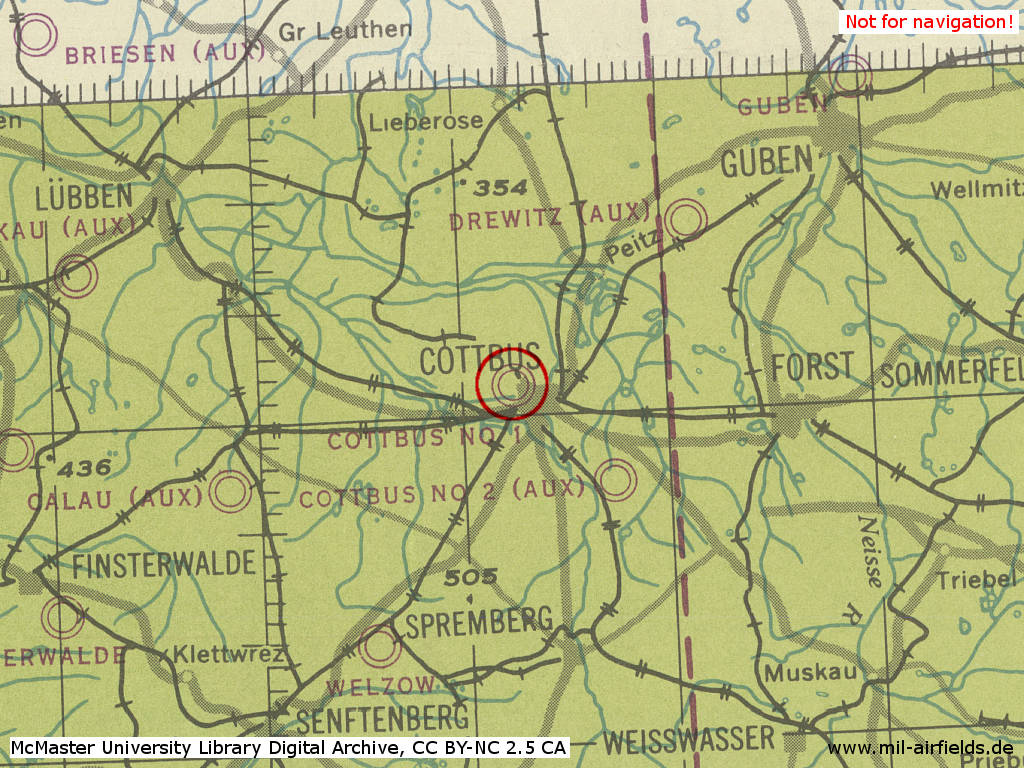Cottbus Air Base in World War II on a map 194x