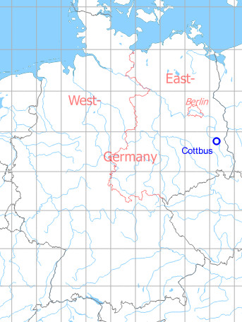 Map with location of Cottbus Air Base