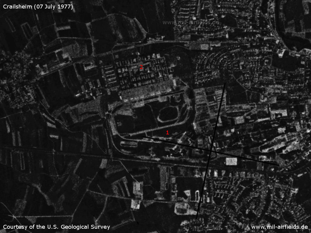 Crailsheim Army Airfield, Germany, on a US satellite image 1977