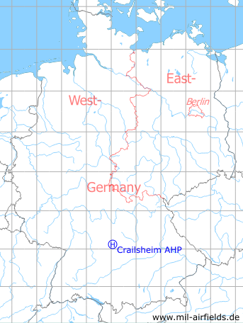 Map with location of Crailsheim McKee Barracks Army Heliport AHP, Germany