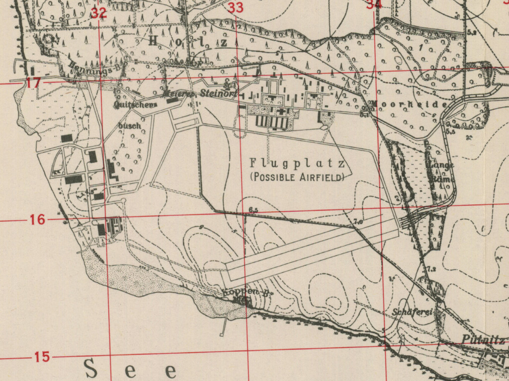 Damgarten Puetnitz air base on a US map 1952