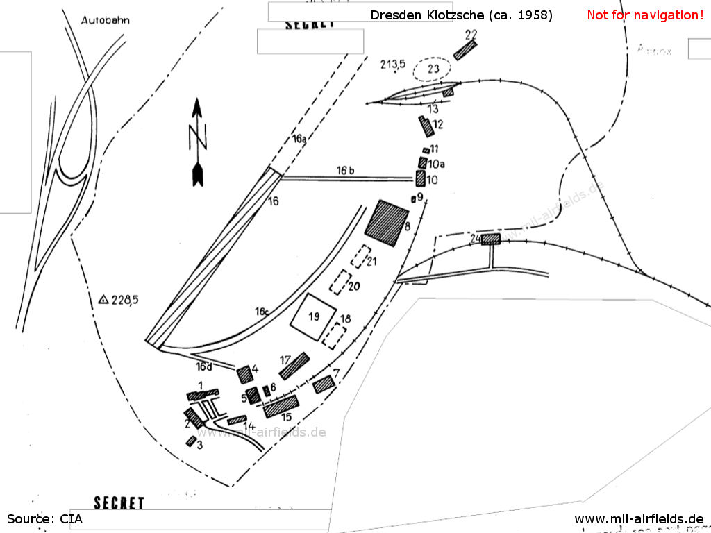 Sketch from the time of the expansion of the airfield and the aircraft works Dresden, ca. 1958