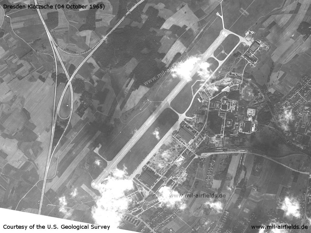 Satellite picture of Dresden-Klotzsche Airport, East Germany (GDR), 1965
