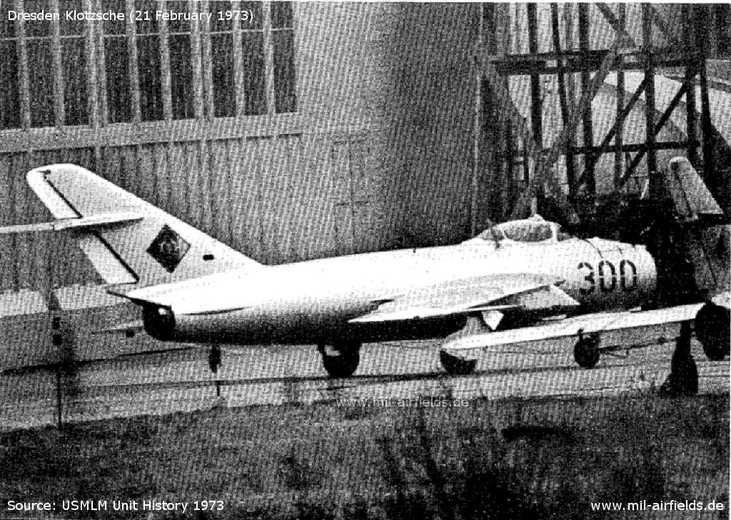 MiG-17 Fresco at Dresden Klotzsche Maintenance Facility, East Germany
