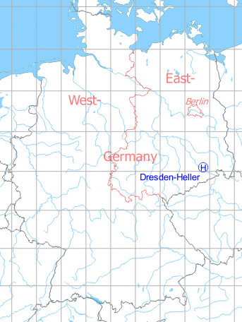 Map with location of Soviet Dresden Heller Heliport, East Germany