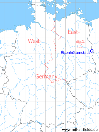 Map with location of Eisenhüttenstadt Airfield, GDR