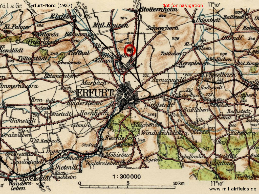 Erfurt North Airport on a map from 1927