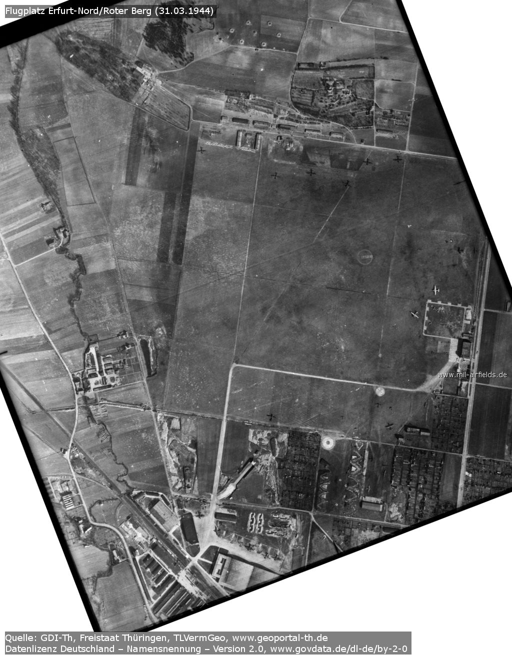 Aerial picture of Erfurt North airfield, Germany, from 31 March 1944