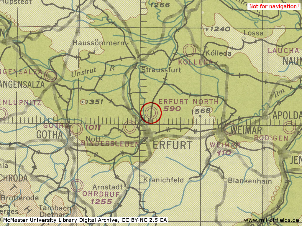 Erfurt North Airfield in World War II on a US map from 1944