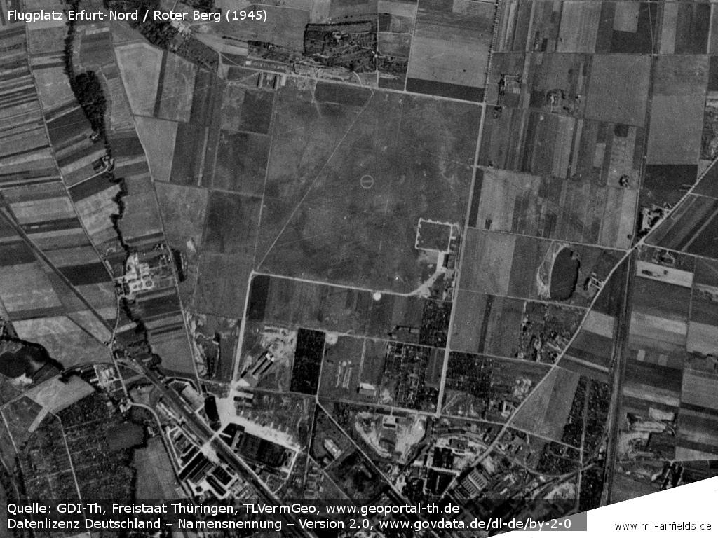 The Erfurt North airfield at the end of the war on an aerial photo 1945.