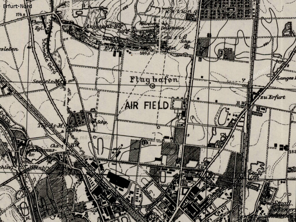 Map of Erfurt-Nord airfield, Germany