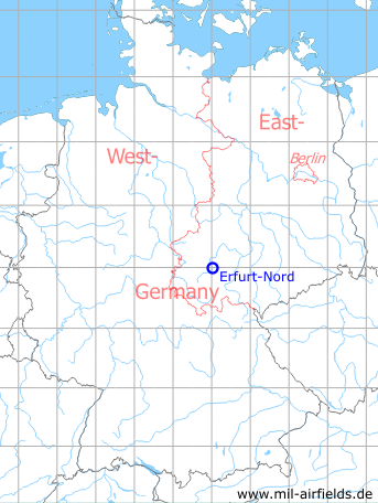 Map with location of Erfurt North / Roter Berg airfield, Germany