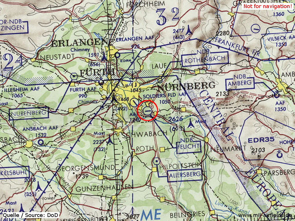 Feucht Army Airfield (AAF), Germany, on a map 1972