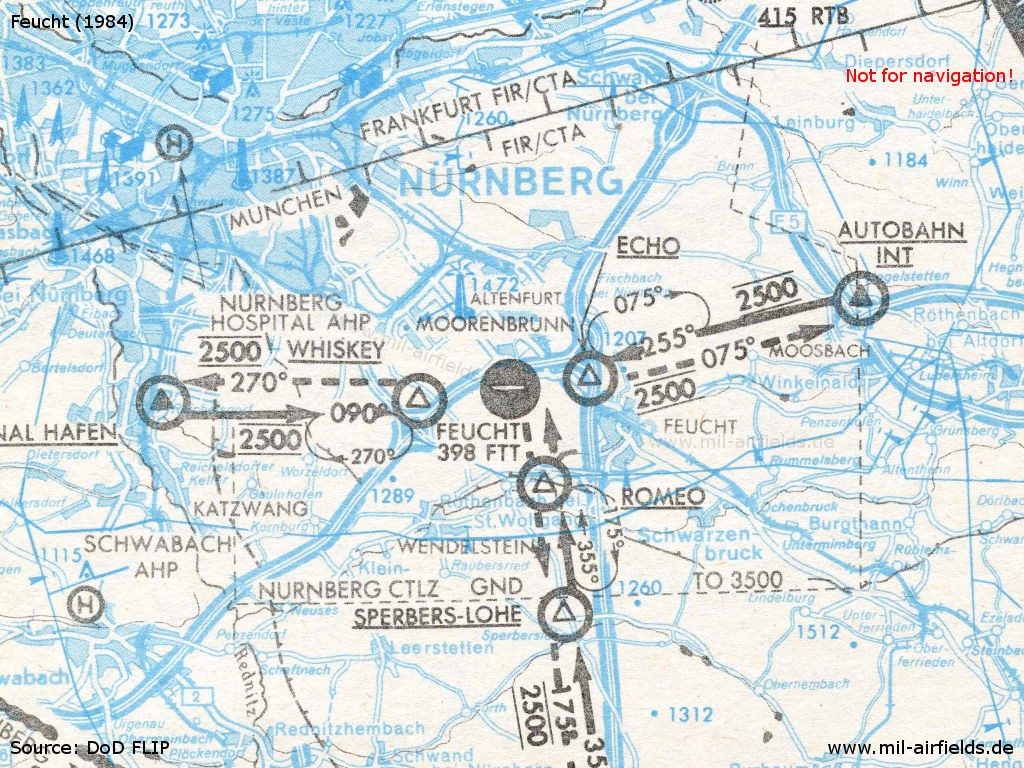 Location of the airfield in the southern part of the Nuremberg Control Zone