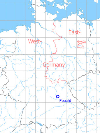 Map with location of Feucht Army Airfield AAF, Germany