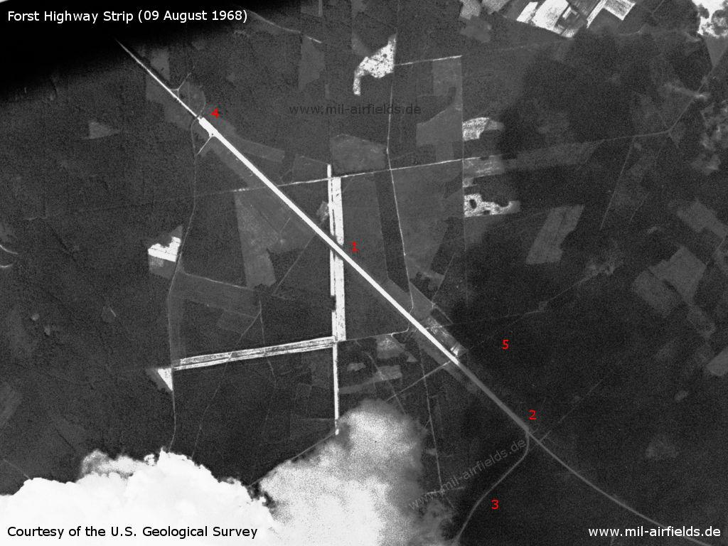 Autobahnabschnitt ABA Forst auf einem Satellitenbild 1968