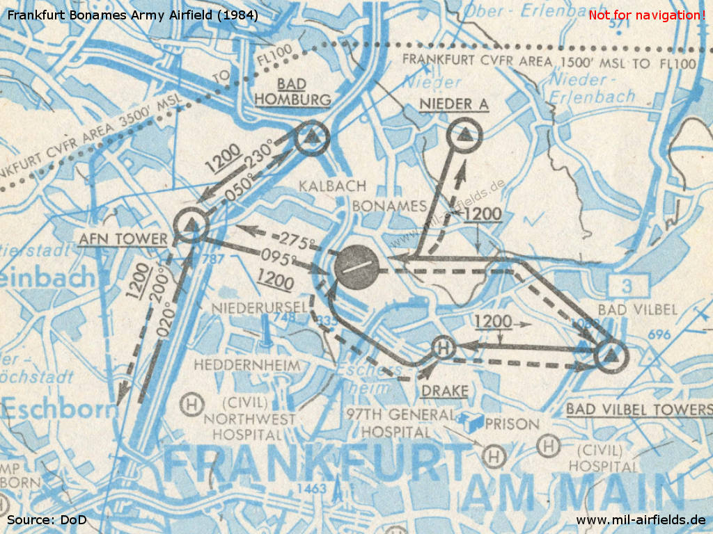 Map of arrival and departure routes Frankfurt Bonames Maurice Rose Army Airfield