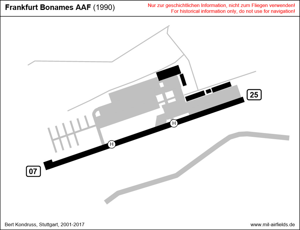 Map of Frankfurt Bonames Maurice Rose Army Airfield