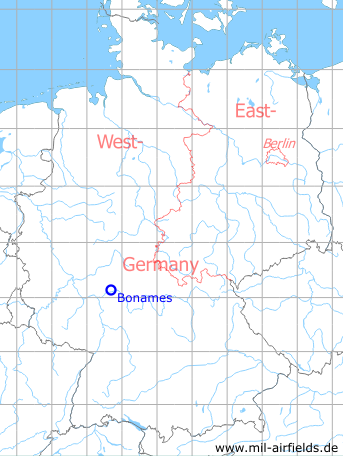 Map with location of Frankfurt Bonames airfield
