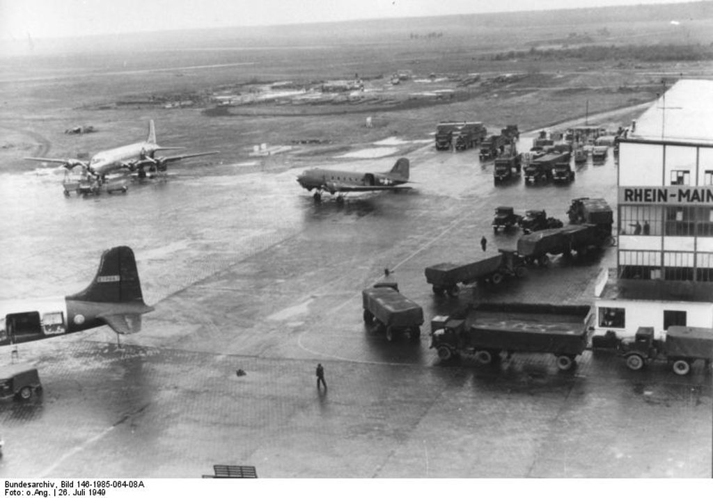 Picture of Douglas C-47 and C-54 of US Air Force during Berlin Airlift at Frankfurt Rhein Main