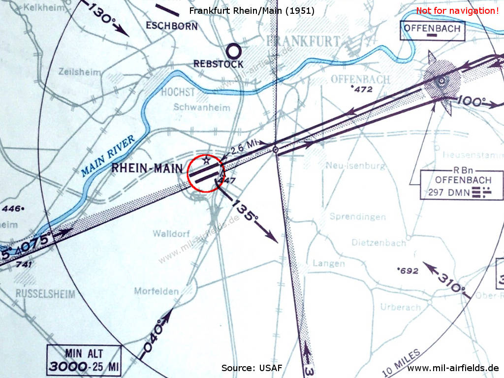 Historic approach map of Frankfurt Rhein/Main airport from 1951