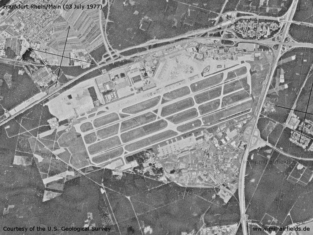 Flughafen Frankfurt Rhein/Main auf einem Satellitenbild 1977