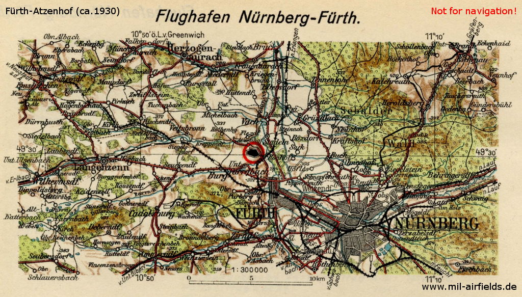 Nürnberg-Fürth Airport on a map from March 1930